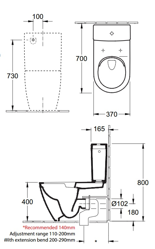 Villeroy & Boch Subway 2.0 Rimless BTW Toilet Suite specifications